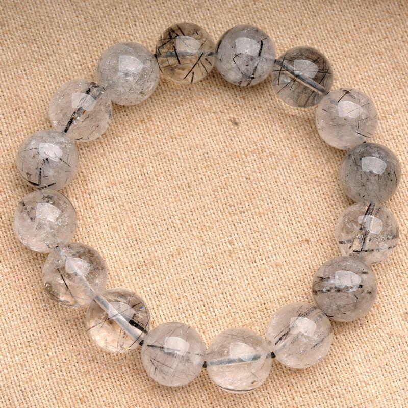 JoursNeige Natural Fidelity Black Quartz Rutilated Bracelet 12mm - Նորաձև զարդեր - Լուսանկար 2