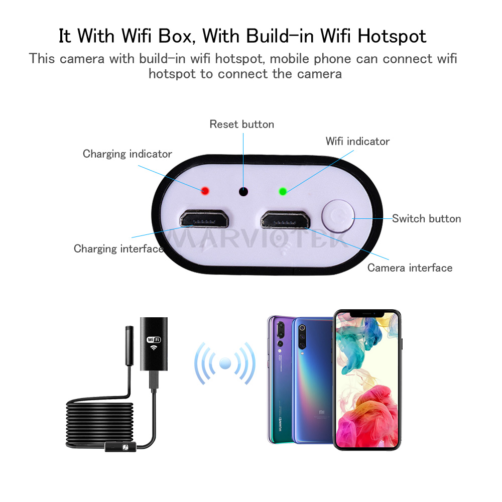 8mm Wifi Endoscope 1M 2M 3.5M 5M 10M Waterproof Camera Borescope Soft Wifi Endoscope Camera Borescope Camera For Android IOS