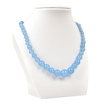 Aim la mer pur bleu et rond naturel aigue marine Jasper collier 18 pouces 6 14mm