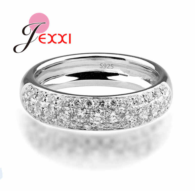 High Quality Fashion 925 Sterling Silver Rings For Men Cubic Zircon Crystal Bridal Wedding Finger Ring For Woman Bijoux