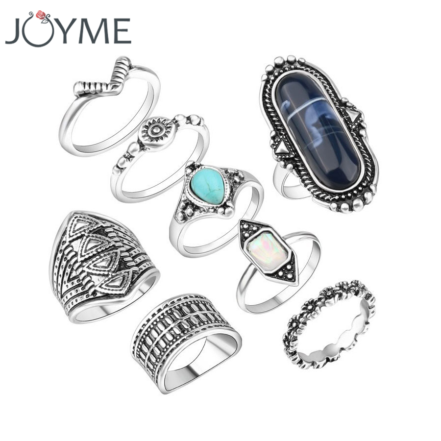 Gypsy Vintage Resin MIDI Rings Set Antique Silver Plated 8pcs BOHO National Female Jewelry Knuckle Ring For Women