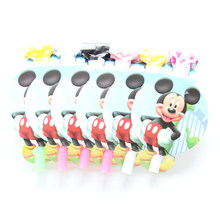 6Pcs/lot Noise Maker Mickey Cartoon Theme Blowout Plastic Whistle Kid's Birthday Party Fittings Party Supplies Decorative Toys(China)