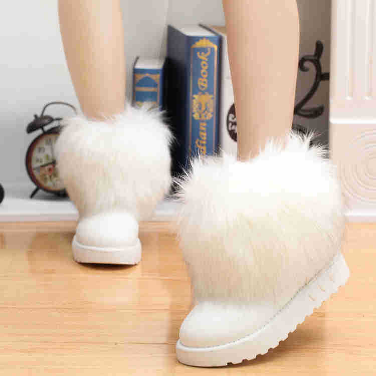 2016 Fashion Style Women Winter Warm Snow Boots Big Rabbit Fox White Winter Boot Fur Black