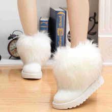 2016 Fashion Style Women Winter Warm Snow Boots Big Rabbit Fox White Winter Boot Fur Black Female Snow Boot Australia Brand Shoe