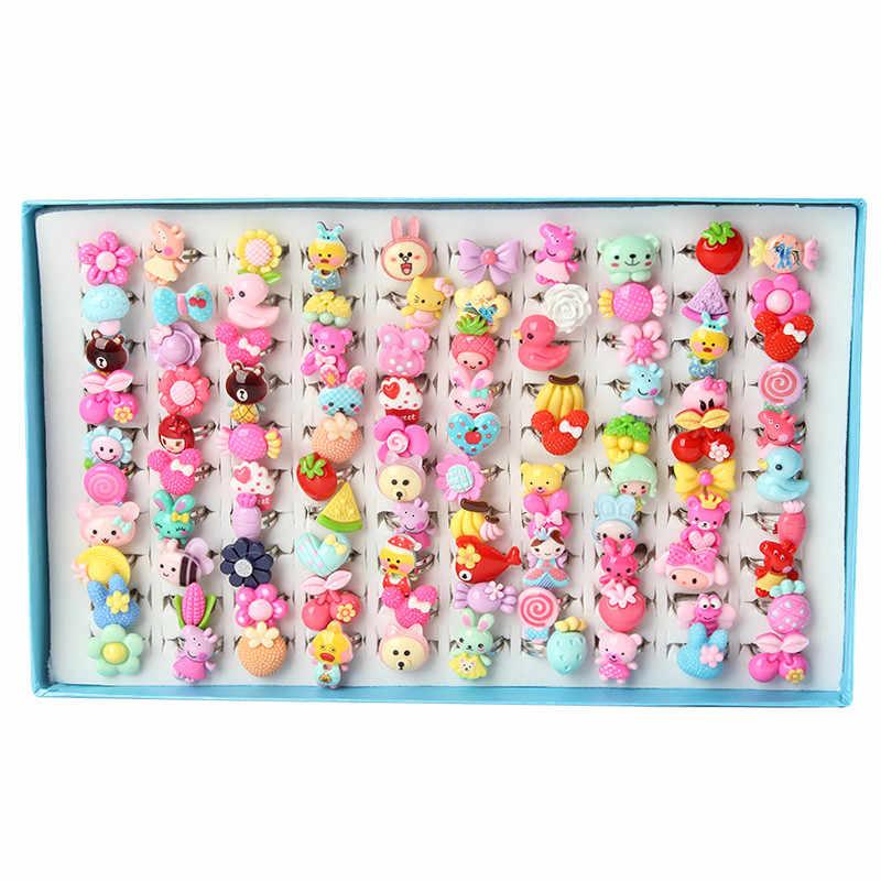 ใหม่น่ารักเรซิ่นสัตว์ที่มีสีสันและดอกไม้เด็กแหวนเด็กวันของขวัญเครื่องประดับนิ้วมือ 100 PCS