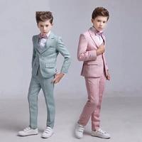 Shinny Blue One Buttons Boy Suits Notch Lapel Children costume wedding Party Tuxedos boys blazer (jacket+pant)
