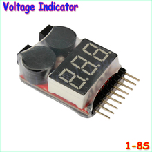 1pcs Hot Sell 1-8S LED Low Voltage Buzzer Alarm Lipo Voltage Indicator Checker Tester Wholesale Dropship
