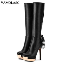 VAMOLASC New Fashion Women Autumn Winter Warm Leather Knee High Boots Sexy Thin High Heel Knight Boots Platform Women Shoes