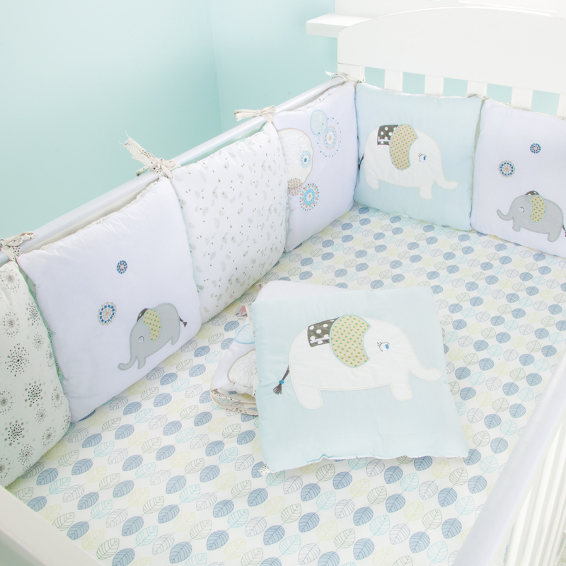 Infant Crib Bumper Bed Protector Baby Kids Cotton <font><b>Cot</b></font> Nursery bedding 6 pc plush bear bumper for boy and girl