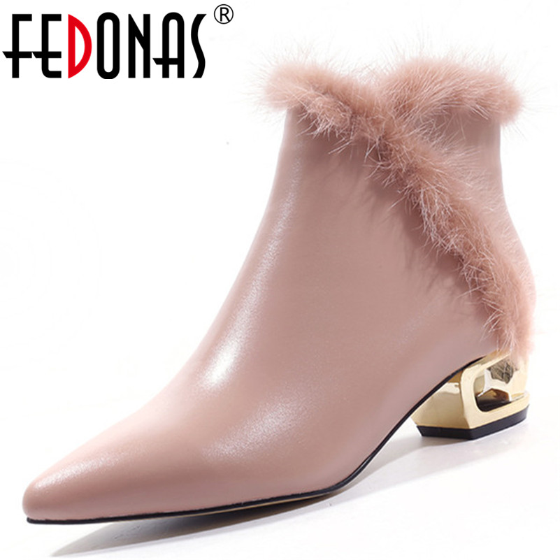 FEDONAS New Women Party Wedding Prom Shoes Woman High Heels Pointed Toe Warm Snow Boots Ladies