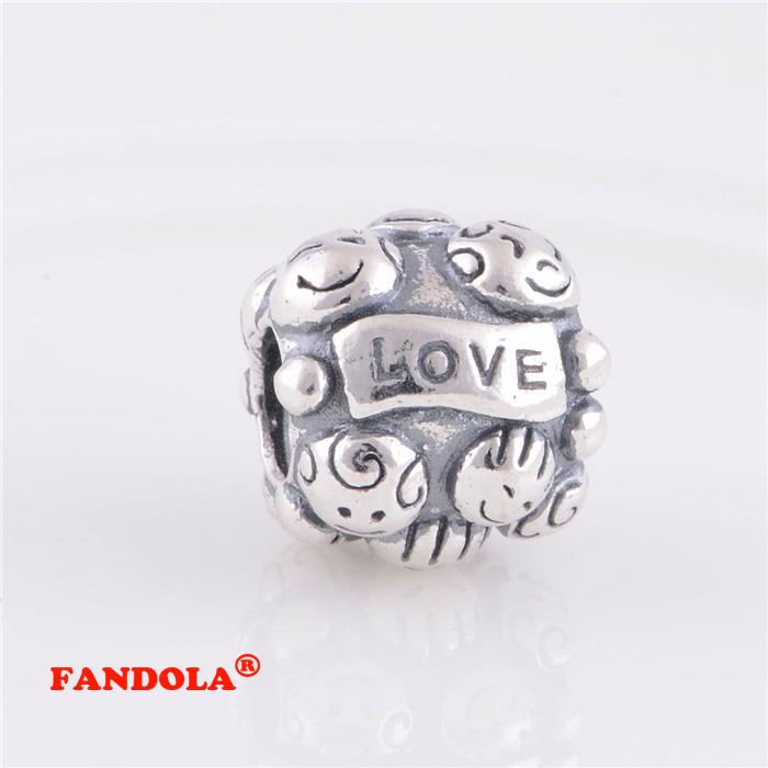 Fits Pandora Charms Bracelet Love Family Screw Thread Charm Beads Authentic 925 Sterling Silver Jewelry Wholesale LW224