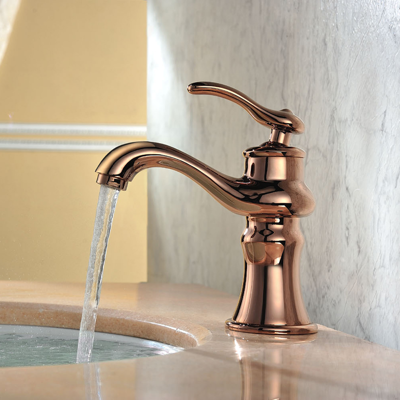 oro rosa bagno rubinetti con piattaforma ha montato ottone antico lavandino rubinetto del bagno caldo