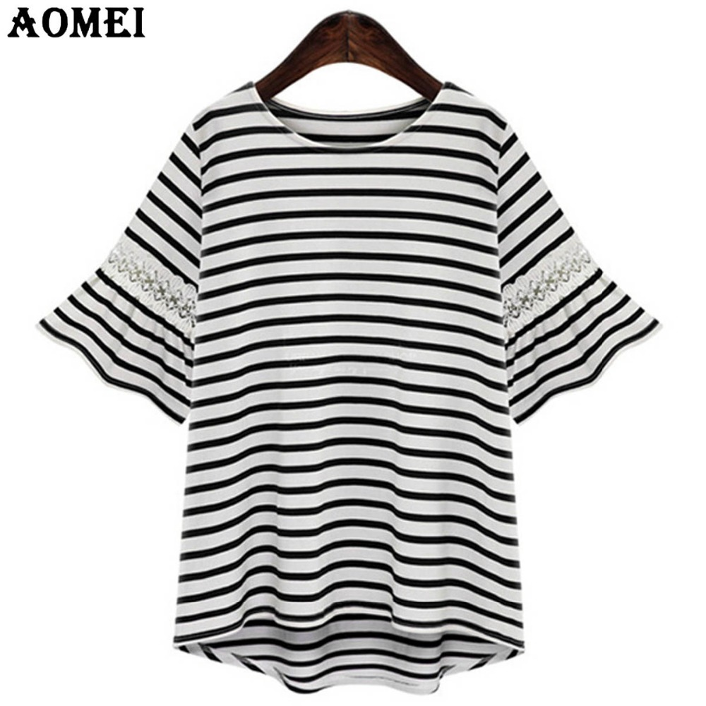 Black and white striped t shirt xxl - Navy Blue And White Stripe Women Fashion Tee Shirts With Lace Flare Sleeve Irregular Summer Tops Clothing Plus Size Xxl 3xl 5xl