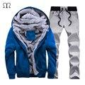 Chándal de Los Hombres de moda Casual Con Capucha Warm Chándal Sportwear Hombre Invierno Gruesa Fleece Patchwork Conjuntos Con Capucha Moleton masculino