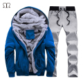 Fashion Tracksuit Men Casual Hooded Warm Tracksuit Sportwear Male Winter Thick Fleece Patchwork Hoodie Sets Moleton Masculino