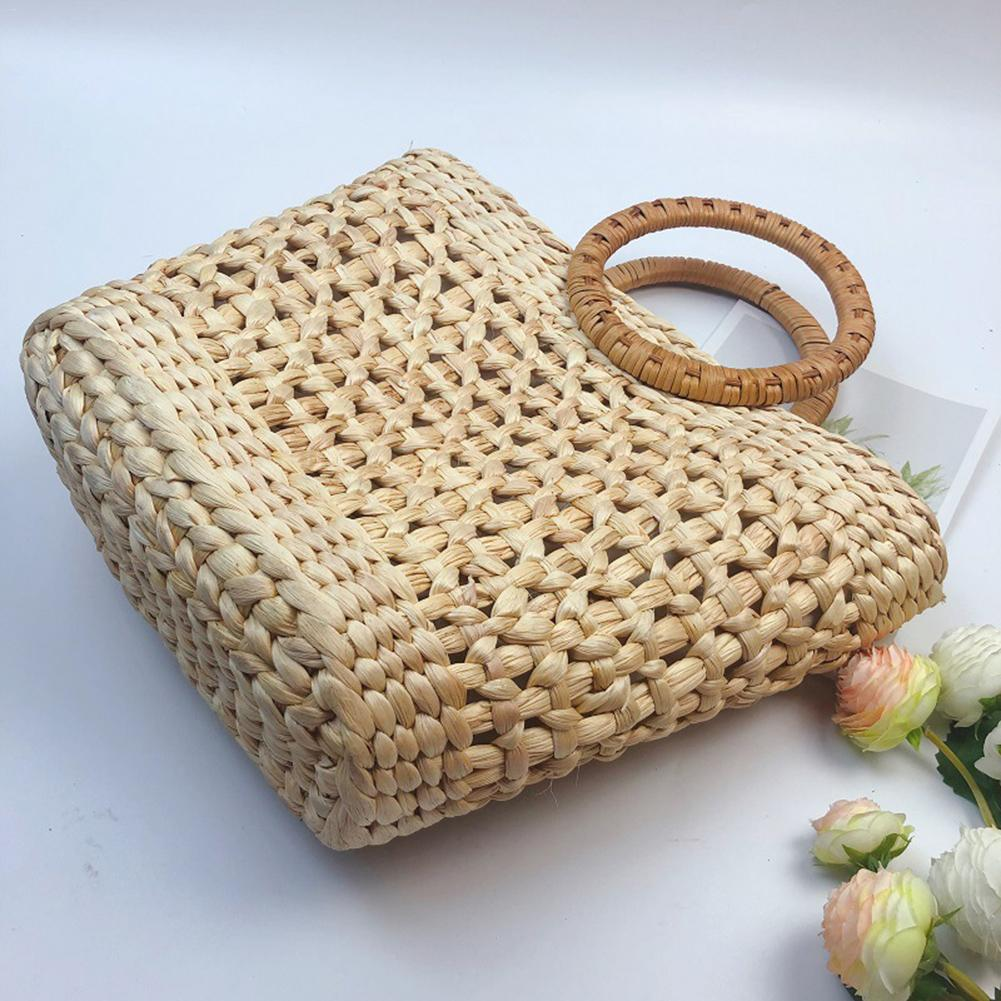 Straw Hand Woven Bag Rattan Braided Summer Beach Handbag Fashion Casual Totes Bags For Women Travel Beach Shopping Handbags Tote in Top Handle Bags from Luggage Bags