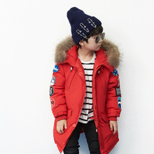 Down Jackets For Girls Winter Boy Long Jacket Parka Clothes For Kid 2017 Fashion Fur Collar Baby Coat