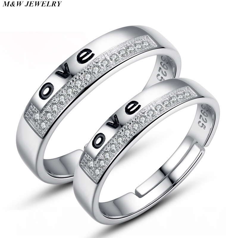M&W JEWELRY Hot Sale 100% 925 Sterling Silver Never Give Up Letter Alphabet Ring Women Luxury Sterling Silver Jewelry S925