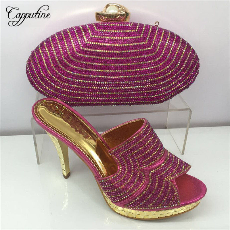 Capputine New Africa Style Rhinestone Wedges Shoes And Bag Set Italian Ladies Pumps Shoes And Bag For Wedding Wholesale BL355C