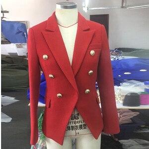 Image 2 - HIGH QUALITY Newest Fashion 2020 Fall Winter Designer Blazer Jacket Womens Classic Lion Buttons Tweed Wool Blazer Coat