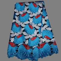 High class African cotton lace fabric with blue+red+white embroidery Swiss Voile Lace Fabric for wedding ZC27-1