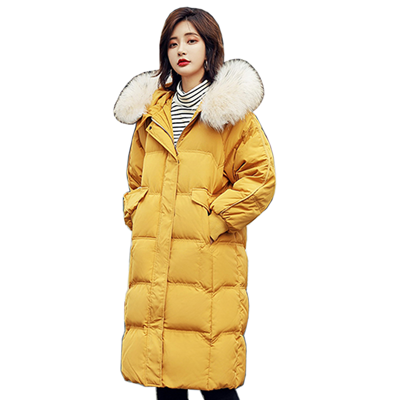 Women Winter Jacket 95% White Duck   Down     Coat   Parka women Fur Collar Thicken Hooded   Down   Jacket Snow Female Medium Long Overcoat