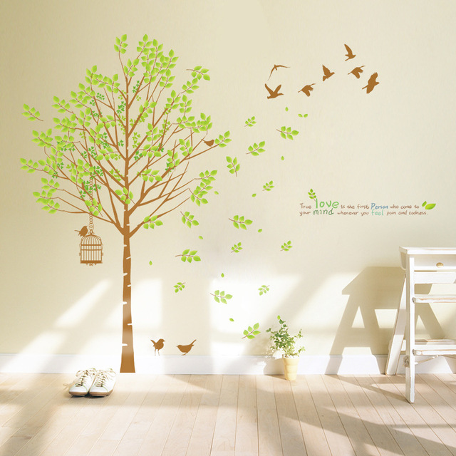 3D Wall Art 103*121cm Family Big Green Tree Birds Vinyl Wall Sticker ...