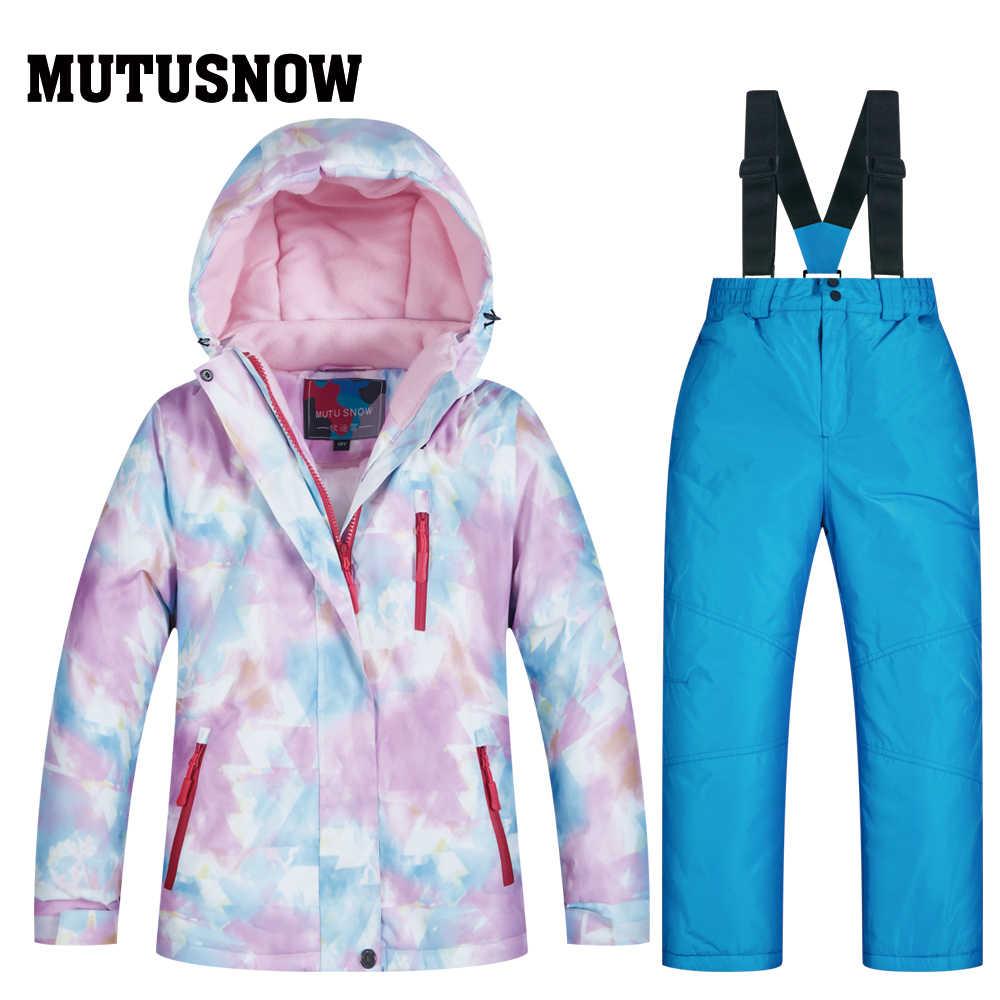 2019 лыжный костюм для девочек, водонепроницаемая детская Лыжная куртка, лыжные штаны, теплая зимняя Лыжная одежда для катания на лыжах, сноуборде-30 градусов