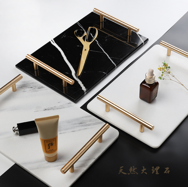 Natural Marble Ceramic Tray Home Storage Trays Decorative Display Trays Light Luxury Cosmetics Jewelry Plate Food Tray