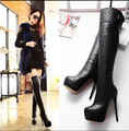 Женщины кожаные более-сапоги зима сексуальная мех женские туфли на каблуках женщины дамы туфли лонг сапоги Y727