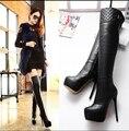 Mujeres de cuero sobre la rodilla botas de invierno de piel Sexy mujeres zapatos de tacón alto mujer vestido de las para mujer botas altas largas Y727