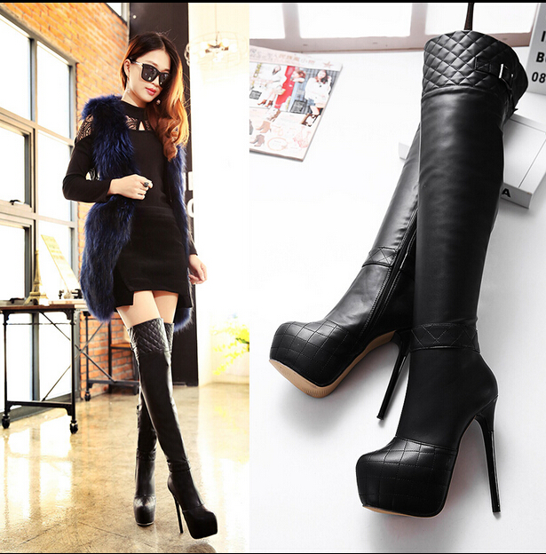 ФОТО women leather over the Knee Boots winter Sexy fur boots Women High Heel Shoes women Ladies Dress shoes long high boots Y727