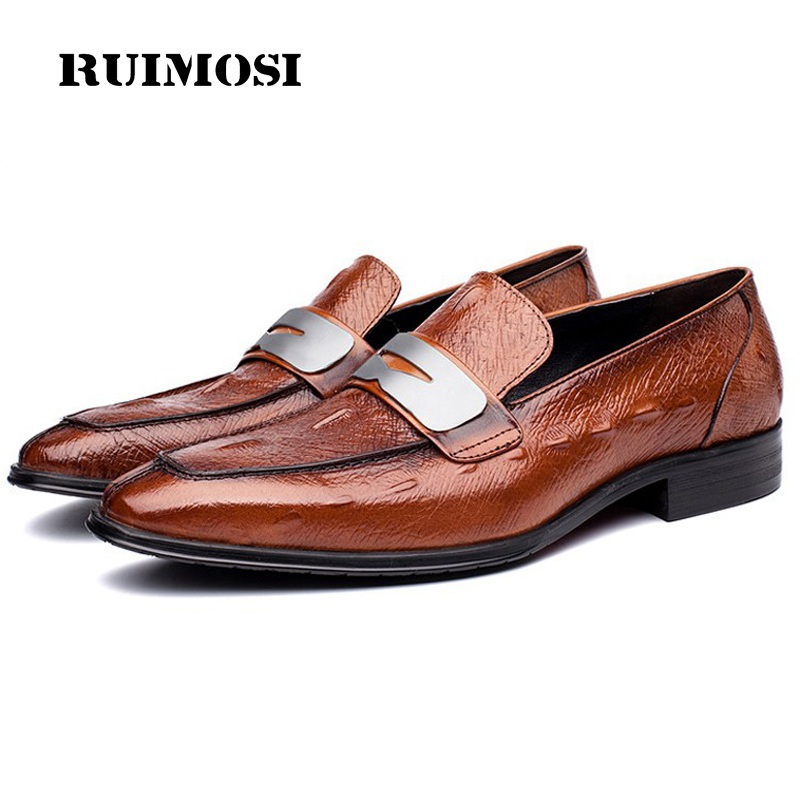 RUIMOSI Basic Man Slip on Dress Shoes Genuine Leather Male Formal Luxury Loafers Pointed Toe Wedding Bridal Men's Flats GD20