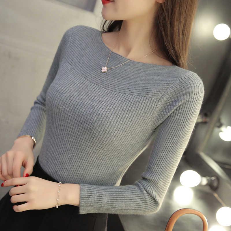 2019 г. осенние и зимние новые корейские женские Свитер с воротником универсальная кофта с длинными рукавами тонкий один-образным вырезом внутренняя резьба плотный пуловер