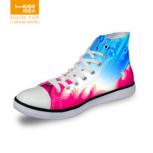 FORUDESIGNS New Women Canvas Shoes Casual Platform Canvas Shoes Student Colorful High Ankle Shoes Ladies Couples Lovers Shoes