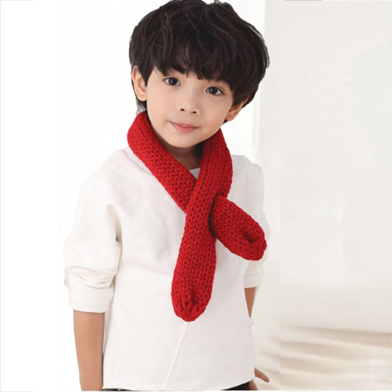 Fashion Children Girls Boys Scarf Infant Knitted Plain Weave Thicken Warm Winter Scarves Chidren Outing Protect Kint