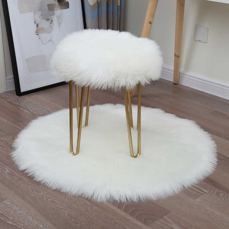 Nordic Style Premium Faux Sheepskin Rug White Fur Chair Carpet Cover With Super Fluffy Thick Long Fluff Round Rugs Tapis
