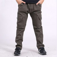 Brand Children Boy Cargo Pants Winter And Autumn Big Boy Leisure Large Cotton Trousers Pocket Teenagers
