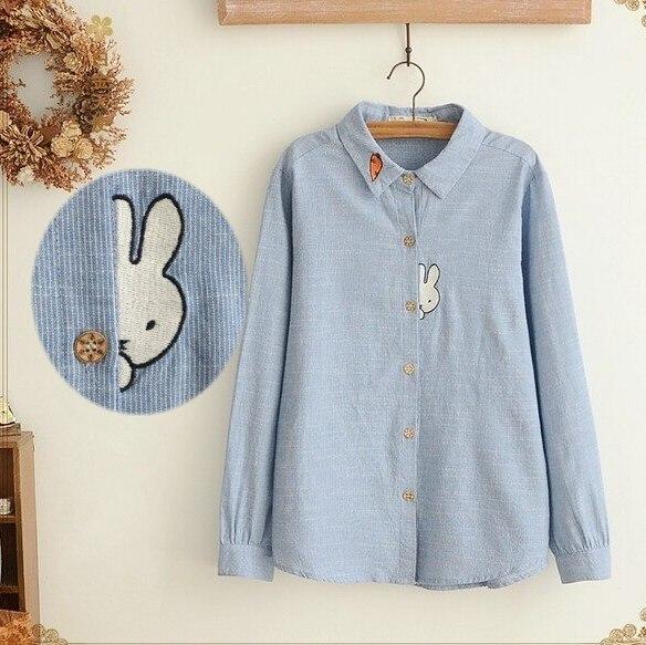 Shy coelho bonito que esconde applique coelho cenoura bordado camisa de manga comprida blusa menina do vintage