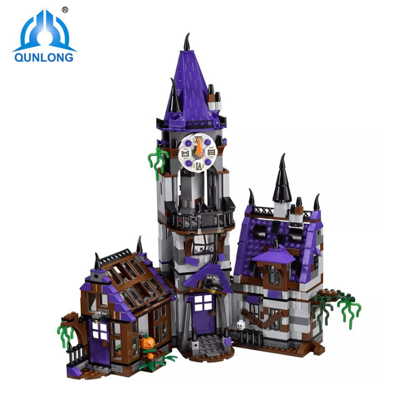 Qunlong Mystery Mansion 75904 Building Blocks Model Educational Toy For Children BELA 10432 Compatible Scooby Doo Legoed Figure 10432 scooby doo mysterious ghost house 860pcs building block toys compatible legoingly 75904 blocks for children gift
