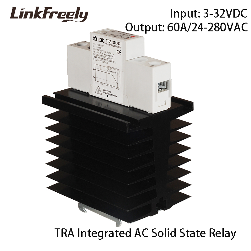 TRA-23D60M1 60A Integrated Soft Starting Solid State Relay 5V 12V 24V 32V DC Input Voltage DIN Rail SSR Relay Switch Heat Sink tra 23d40m1 5pcs intelligent automation integrated ssr relay 3v 5v 12v 24v dc input din rail solid state relay heat sink 40a