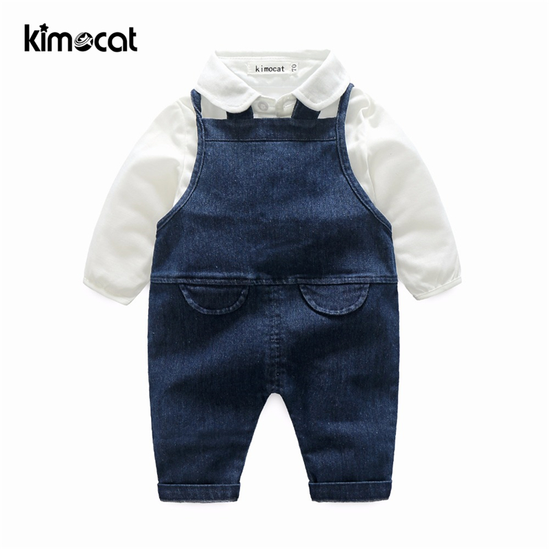 Kimocat Baby Boy Clothes 2pcs Shirt+Suspenders Baby Clothing Sets Gentleman Newborn Clothes Set For Boys High Quality Cotton