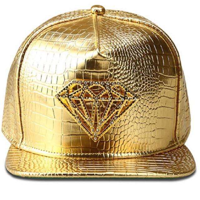 Moda de nova crocodilo de hip hop de beisebol ouro diamante decorado trendsetter bboy cap unisex snapback gorras planas