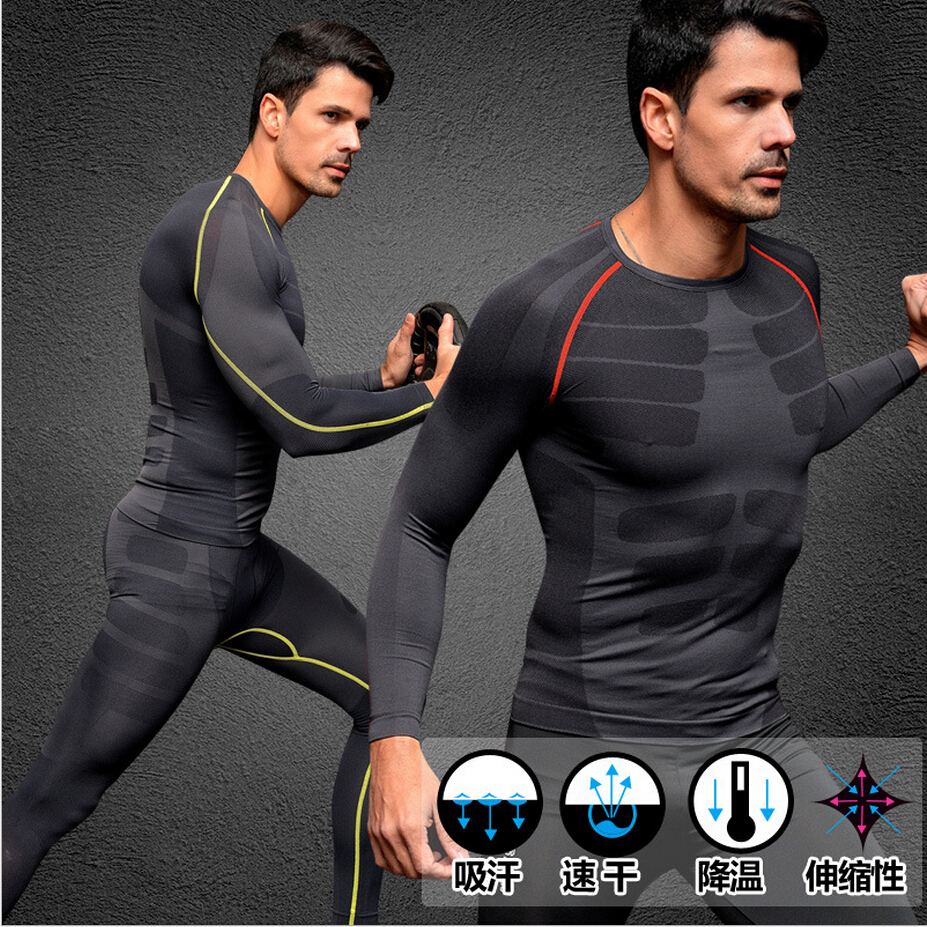 Men Compression Under Thermal Shirts Base Layer Sports Long Sleeve Gym Tee Tops