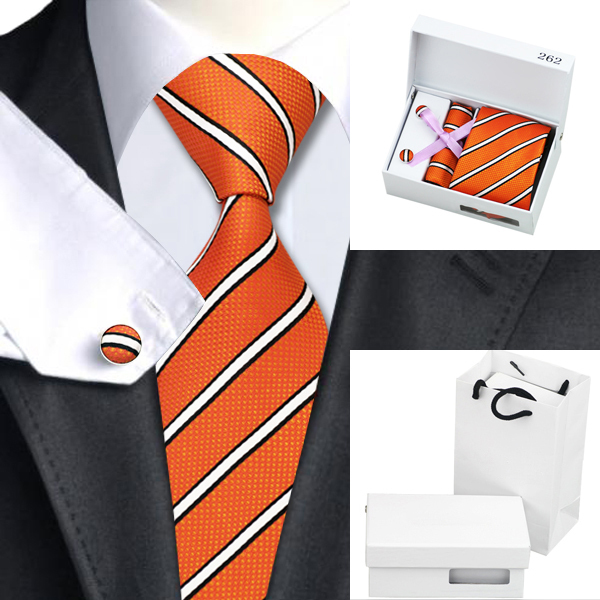 B-262 Nuevos Hombres Corbatas De Seda Naranja Negro Raya Corbata Hanky gemelos Caja de Regalo Conjunto de Bolsas Banquete de Boda de Negocios Corbata Para hombres