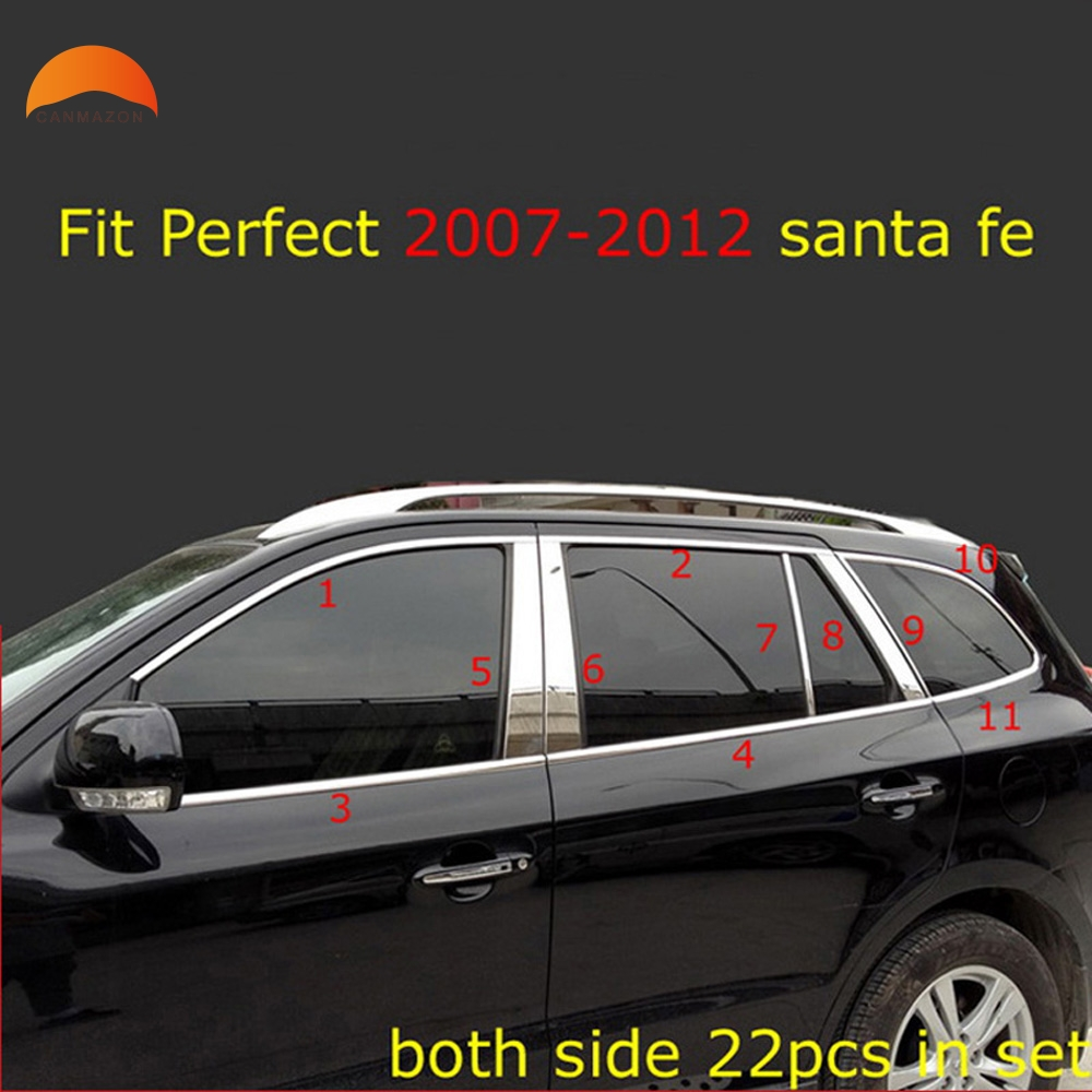 Fit for Hyundai Santa fe 2007 2008 2009 2010 2011 2012 Steel Full Set Window Frame Sill Belt Trim Pillar Auto Accessories 22pcs stainless steel full window with center pillar decoration trim car accessories for hyundai ix35 2013 2014 2015 24
