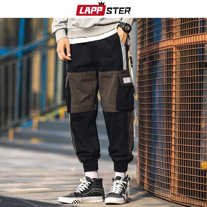 Брюки-карго LAPPSTER мужские, в стиле хип-хоп, пестрые, уличные, 2020, черные, мешковатые, для бега, тренировочные штаны, брюки армейского зеленого ц...