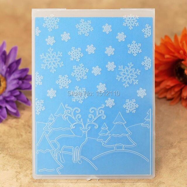 Christmas Tree Deer Snowflake Plastic Embossing Folder For Scrapbook