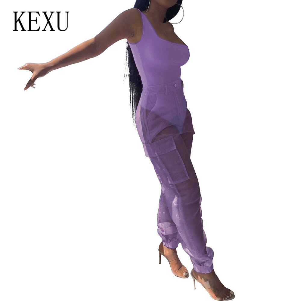 KEXU Rompers Women Fashion Organza Jumpsuits Casual Two Pieces Set Sleeveless Top and See Through Mesh Pants Ladies Playsuits