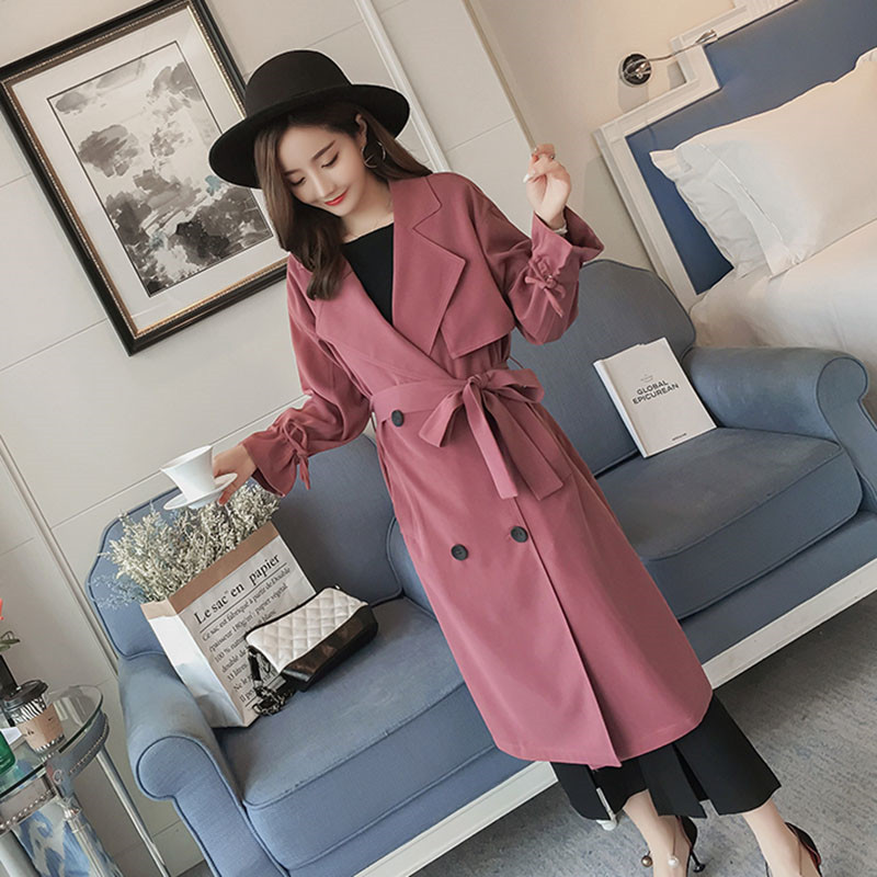 Spring Autumn Thin   Trench   Coat Women With Belt Korean Fashion Long Overcoat 2019 Ladies Double-breasted Casual Loose Windbreaker